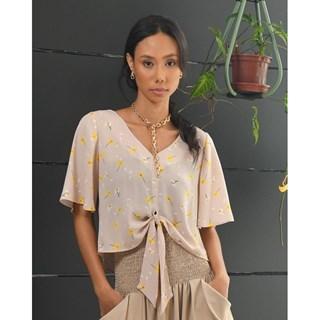 Blusa Cambodja Camila Solta Nó Frente Crepe Mousse Manhattan