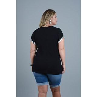 Blusa Program Moda Plus Size Naomi Em Malha Com Detalhe Em Retilínea-212989