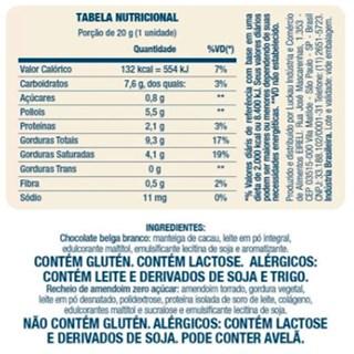 Bombom De Chocolate Belga Branco Recheado Com Amendoim Luckau Finest Chocolate