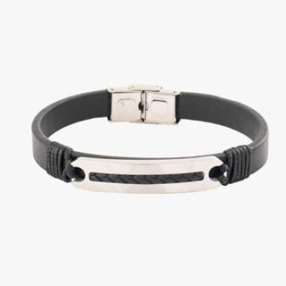 Bracelete Placa Rosso Em Aço - Preto
