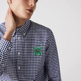 Camisa Lacoste Masculina Regular Fit Em Algodão Oxford Xadrez Com Emblema CH0946-21