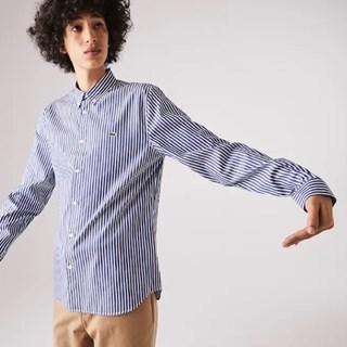Camisa Masculina Lacoste Regular Fit em Algodão Listrado