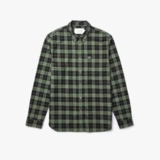 Camisa Masculina Lacoste Regular Fit em Sarja de Algodão Xadrez