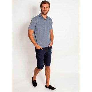 Camisa Polo Aleatory Jacquard Mini Print Azul
