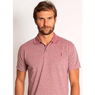 Camisa Polo Aleatory Jacquard Mini Print Vermelho