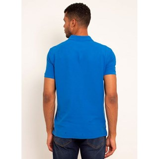 Camisa Polo Aleatory Piquet Pima Lisa Azul