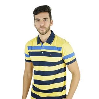 Camisa Polo Style Listrada Amarelo E Azul Marinho