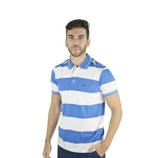 Camisa Polo Style Listrada Azul E Branco