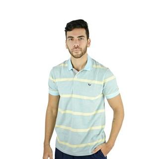 Camisa Polo Style Listrada Piquet Amarelo E Cinza