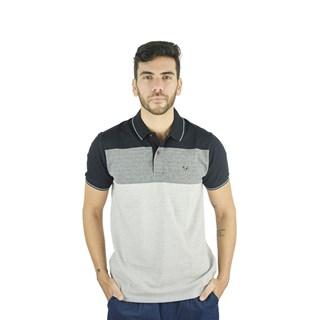 Camisa Polo Style Listrada Preto E Cinza