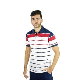 Camisa Polo Style Listrada Vermelho E Branco