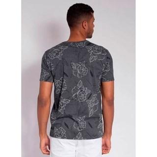 Camiseta Aleatory Full Print Leaf Chumbo