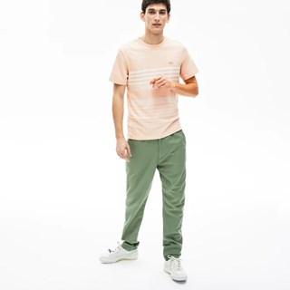 Camiseta Lacoste Masculina Listrada Em Linho E Algodão Com Decote Careca