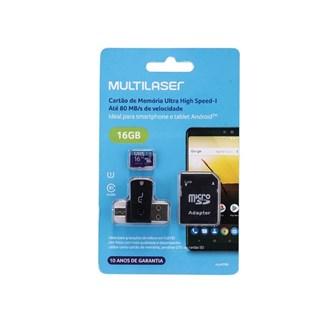 Cartão de Memória Multilaser 16GB 4x1 Ultra High + Adaptador SD USB Dual Classe 10