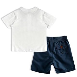 Conjunto Tip Top Infantil Toddler Camiseta Com Botão E Shorts Com Bolso Cós Elástico E Cadarço