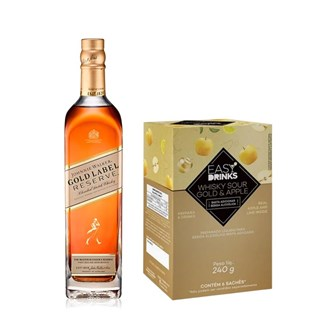 Kit Happy Hour Casa Dez Whisky Johnnie Walker Gold Label + 6 Saches Whisky Sour Gold & Apple Easy Drinks