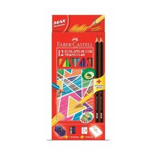 Lápis de Cor Faber-Castell Triangular 12 Cores + 2 Lápis / 1 Borracha / 1 Apontador