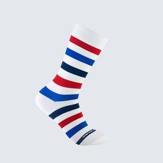 Meia Listra Barber Shop Reta Adulto 3/4 - Branco, Azul e Vermelho