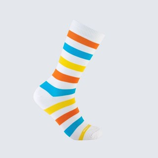 Meia Listra Nas Entrelinhas Adulto 3/4 - Branco, Laranja, Azul e Amarelo