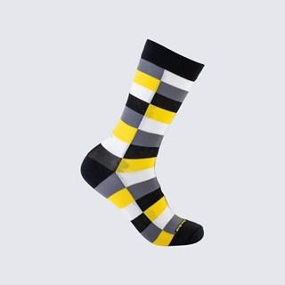 Meia Xadrez Ed Fício Adulto 3/4 - Amarelo, Cinza e Preto