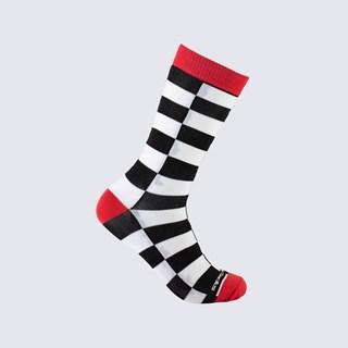 Meia Xadrez Red Mate Adulto 3/4 - Branco, Preto e Vermelho