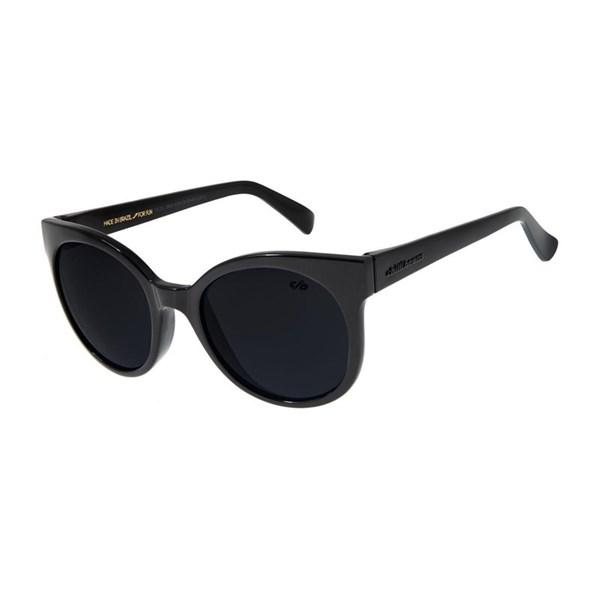 Óculos De Sol Feminino Chilli Beans Redondo Preto Brilho