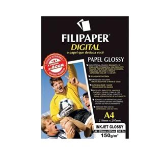 Papel Especial Filipaper A4 150g/m2 50 Fls Jato Tinta Glossy Branco