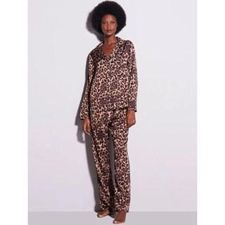 Pijama Hope Charlotte Longo Com Botões Em Cetim Estampa de Onça 0MCL1130EIN