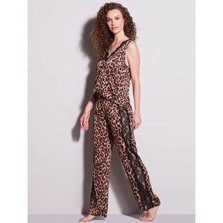 Pijama Hope Charlotte Longo Em Cetim Estampa de Onça 0LCL1130EIN