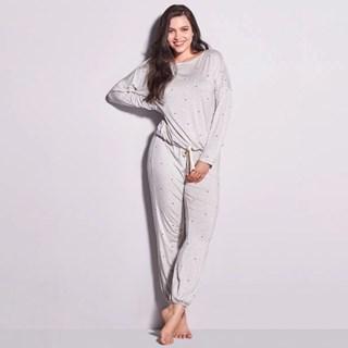 Pijama Longo Hope em Viscose Dreams com Poa OMCL010