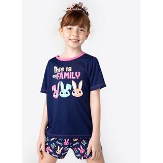 Pijama Puket Curto Viscolycra Infantil Família Coelho