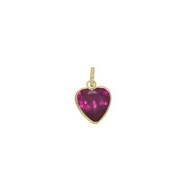 Pingente Coração Com Zircônia Em Ouro 18K - Roxo