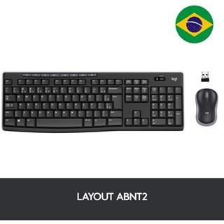 Teclado e Mouse Logitech Multimidia Wireless MK270 Preto