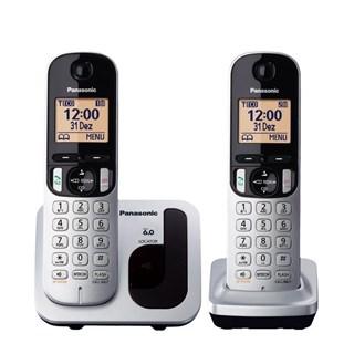 Telefone Fixo Panasonic s/Fio KX-TGC212LB1 + 1 Ramal Prata