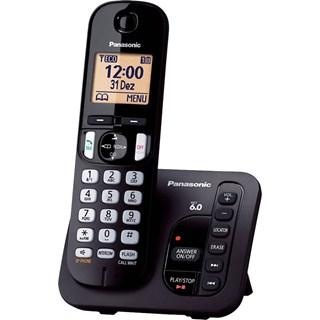 Telefone Fixo Panasonic s/Fio KX-TGC220LBB Preto