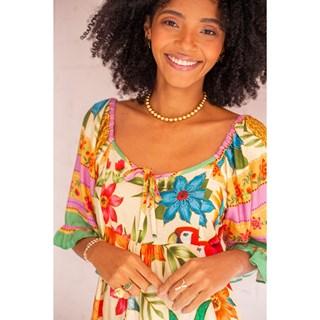 Vestido Curto de Manguinha Kal Laynne