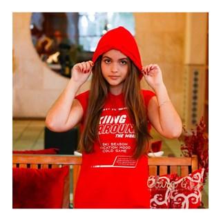 Vestido Dimy Candy Com Capuz Skiing Vermelho