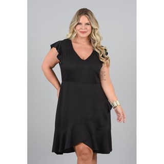 Vestido Program Moda Plus Size Manuela Médio Em Viscose Twill Lisa-217114-S/Local